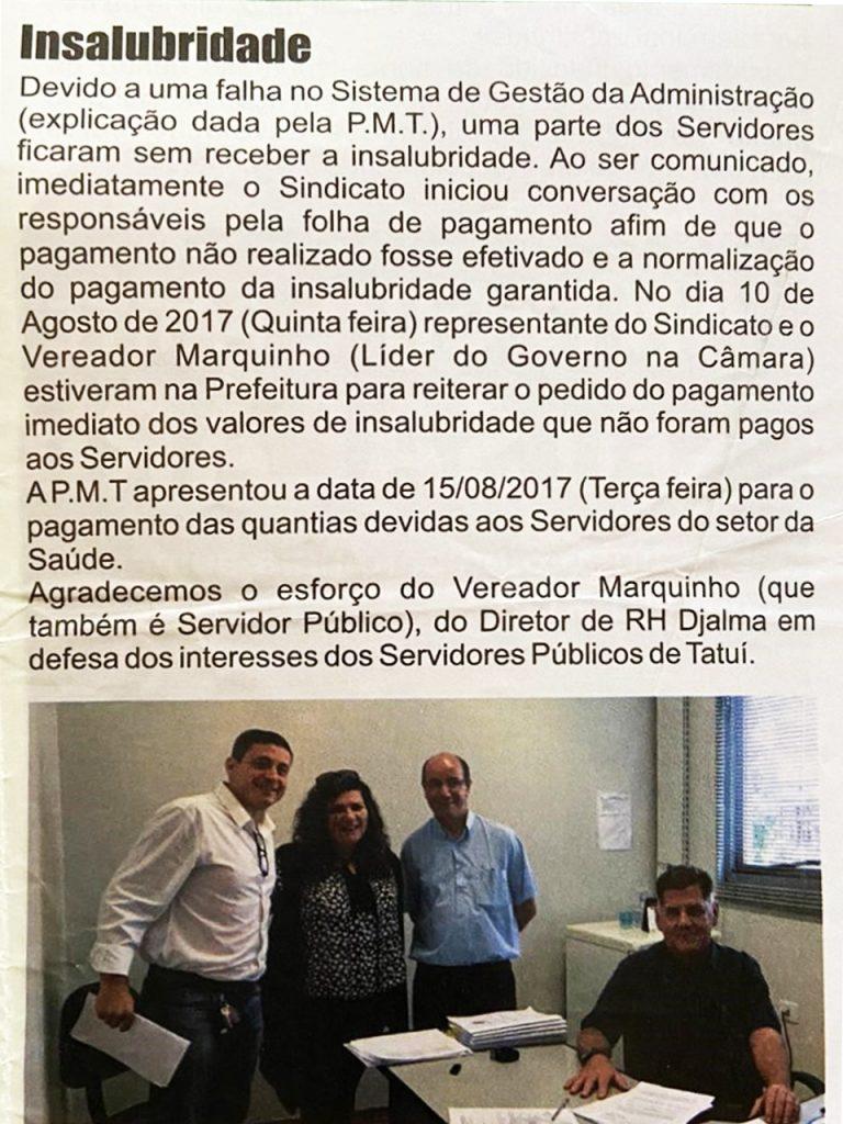 Marquinho atua para garantir insalubridade em defesa dos servidores
