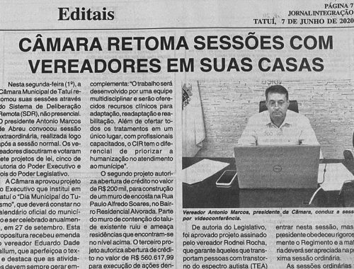 Marquinho de Abreu conduz sessão por videoconferência